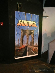 They were handing out fake mustaches and you can get your photo taken in front of the Sabotage sign.